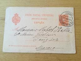 GÄ29533 Spanien Ganzsache Stationery Entier Postal P 26I Von Linea De La Concepcion Nach Tanger Marokko - Interi Postali