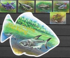VIETNAM, 2019, MNH,  FISH, FISH OF MEKONG, 5v+FISH-SHAPED S/SHEET - Fishes