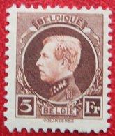 5Fr Koning Albert I Montenez 1921 1924 OBP 218 (Mi 186) POSTFRIS/ MNH / ** BELGIE / BELGIEN / BELGIUM - Unused Stamps