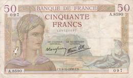 Billet France  50 Francs Ceres  CX . 6 - 10  1938 A . 8590 -  Ce Billet A  Circulé - 1871-1952 Anciens Francs Circulés Au XXème