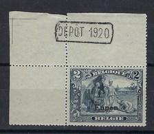 OC98** : 2f Coin De Feuille Avec Dépot 1920 !! - [OC55/105] Eupen/Malmedy