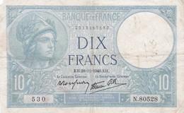 Billet France  10 Francs  Minerve - K H . 28=11= 1940.K H . N 80528 - Ce Billet A  Circulé - 1871-1952 Anciens Francs Circulés Au XXème
