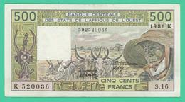 500 Francs - Afrique De L'ouest - 1986 K - S.16 - TTB - - États D'Afrique De L'Ouest