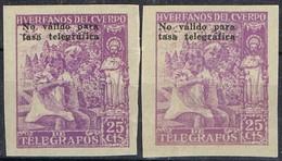 Sellos Beneficos 25 Cts, Huerfanos Cuerpo Telegrafos, VARIEDAD Color ** - Wohlfahrtsmarken