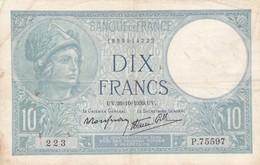 Billet France  10 Francs  Minerve -  U V . 26= 10 = 1939 U V - P . 75597 - Ce Billet A  Circulé - 1871-1952 Anciens Francs Circulés Au XXème