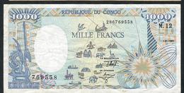 CONGO P11 1000 FRANCS 1992 VF  FOLDS NO P.h. - Congo