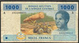 C.A.S. GABON P407Ab 1000 FRANCS 2002  UNCOMMON Signature 9      AVF     NO P.h. - États D'Afrique Centrale