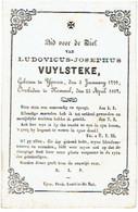 IEPER / KEMMEL - Ludovicus VUYLSTEKE - Geboren 1799 En Overleden 1867 - Images Religieuses