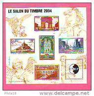 BLOC CNEP 2004 N° 41 **- SALON DU TIMBRE PARIS PONT DU GARD PORT  LA ROCHELLE MONT ST MICHEL ARC  TRIOMPHE CATHE REIMS - CNEP