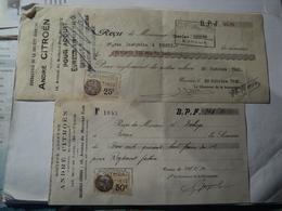 PAIRE DE VIEUX RECUS ANDRE CITROEN. 1932 TIMBRES FISCAUX DE 25 ET 50 CENTIMES  SUCCURSALE DU 18 AVENUE DU MARECHAL FOCH - Automobile