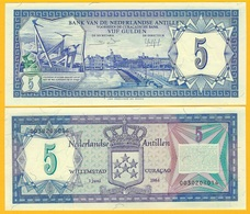 Netherlands Antilles 5 Gulden P-15b 1984 UNC Banknote - Antilles Néerlandaises (...-1986)