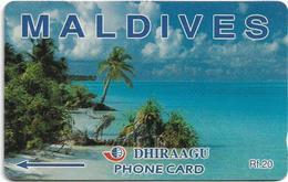 Maldives - Dhiraagu (GPT) - Beach - 1MLDA - 1993, 2.000ex, Used - Maldivas
