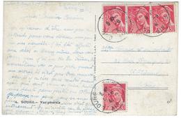 TARIF 5 JANVIER 1942 Carte Postale 5 Août 1942 - MERCURE N°412 X4 - CP Bourg Vue Générale - Posttarife