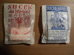PAIRE DE VIEUX SACHETS DE SUCRE MORCEAU. SUCRE BEBES / SUCRE DES MARIES ANNEES 60 - Sugars