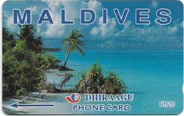 Maldives - Dhiraagu (GPT) - Beach - 68MLDA (Letterings Type#2), 1993, Used - Maldives