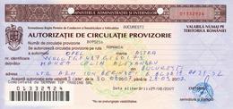 Romania, 2007, Temporary Driving Authorization - Historische Dokumente