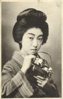 Japan, Beautiful Geisha Lady With Plants, Kimono (1910s) Postcard - Other