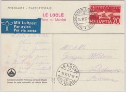 Schweiz - 20 Rp. Abrüstung Luftpostkarte Le Locle Place Du Marche 1937 N. - Non Classés