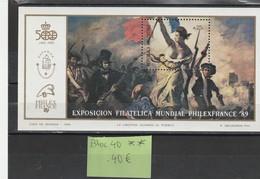 BLOC 40 ++  PHILEXFRANCE  89 - Unused Stamps