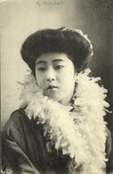 Japan, Beautiful Geisha Lady With Feather Stola (1907) Kamigataya Postcard - Other