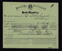 """1875 - """"Post-Mandat"""" Gebraucht Nach SOLDIN Mit Rückseitigem Ortsstempel - Deutschland"""