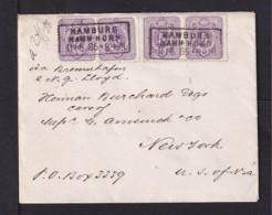 1886 - 4x 5 Pf. Auf Brief Ab Hamburg-Hamm.Horn Nach USA - Allemagne