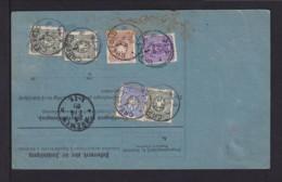 1889 - Bunte Frankatur Auf Paketkarte Ab Crefeld Nach New York - Allemagne