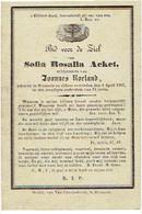 DIKSMUIDE - Sofia ACKET - (echtgen. J. Roeland) - Overleden 1867 - Santini