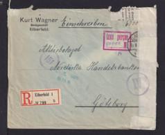 """1923 - """"taxe Percue"""" Stempel Auf Einschreibbrief Ab Elberfeld Nach Schweden - Deviesenzensur - Allemagne"""