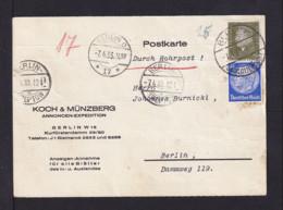 1933 - 25 Und 30 Pf. Auf Postkarte Per Rohrpost In Berlin Gebraucht - Allemagne