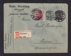 1920 - 3 Überdrucke Auf Einschreibbrief Ab Saarlouis Nach Passau - Lettres & Documents
