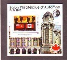BLOC CNEP 2015 N° 69 ** SALON PHILATELIQUE AUTOMNE ENGAGEMENT CANADIENS GRANDE GUERRE   AVEC TP MONTIMBRAMOI - CNEP