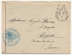 """FRANCE - Env """"Poste Aux Armées 2/1/1940"""" + Censure """"Contrôle Postal Commission W.E."""" Pour Suisse - Marcophilie (Lettres)"""