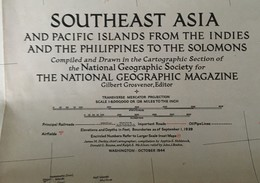 CARTE De L'ASIE Du SUD-EST - The National Geographic Magazine - Grosvenor Editor - Octobre 1944 - Geographische Kaarten