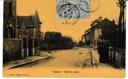 Hauts De Seine SCEAUX Rue Du Lycée (carte Toilée Et Colorisée) 1907 - Sceaux