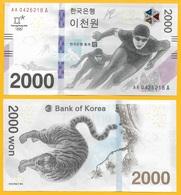 South Korea 2000 Won P-58 2018 Winter Olympics Commemorative UNC Banknote - Corea Del Sud