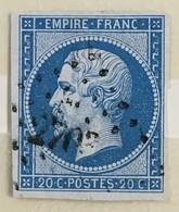 YT 14B (°) Obl 1853-60 Napoléon III Type II 20c Bleu Losange Petits Chiffres 2703 Rochefort-sur-mer (6 Euros) - 1853-1860 Napoleone III