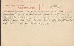 Great Britain Postal Stationery Ganzsache PRIVATE Print HESSLER & Co., WEST HARTLEPOOL 1896 DRAMMEN (Arr.) Norway - Briefe U. Dokumente