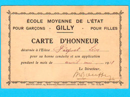 Carte D'Honneur Ecole Moyenne De GILLY 1918 - Verso Beffroi De GAND - Edit Desaix Bd. Lemonnier Brux. Voir Les Scans - Charleroi