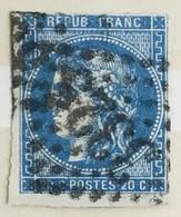 YT 46B (°) Obl 1870-71 Emission De Bordeaux 20c Bleu Type III (Report 2) Losange Gros Chiffres 3325 Saumur - 1870 Ausgabe Bordeaux