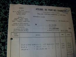 Facture Atelier Du Pont Des Charrettes Par Uzès Gard Matériel Agricole & Industriel 1966 - Francia