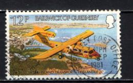 GUERNSEY - 1981 - MEZZI DI TRASPORTO TRA LE ISOLE DEL DISTRETTO - AEREO - USATO - Guernesey