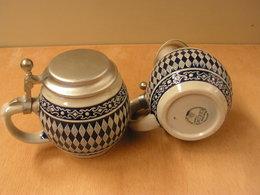 Görtz , 2 Humpen  Bierkrüge Rautenkugel Mit Zinndeckel - Porzellan & Keramik