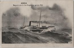 "2 CPA - ABDA  Paquebot De La Cie Paquet Par Grosse Mer - Paquebot "" CEYLAN"" En Mer - Steamers"