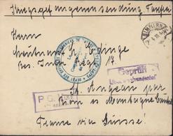 Guerre 14 Prisonnier Allemand CAD Simmern 2 4 18 Cachet Bleu Dépôt Officiers Prisonniers De Guerre Saint Angeau Censure - WW I