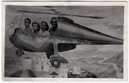 SURREALISMO PHOTO MONTAGE SURREALISME ELICOTTERO HELICOPTER VARALLO - FOTO CARTOLINA ORIGINALE - Persone Anonimi