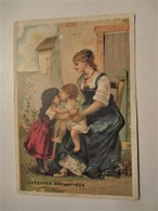 Chromo_BISCUITS PERNOT DIJON_Caresses Enfantines_ Mamamn Avec Fillette & Bébé - Pernot