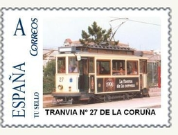 TRANVIAS -  SELLO PERSONALIZADO DE ESPAÑA (SPAIN) TRANVIA Nº 27 LA CORUÑA (GALICIA) - TEMA TRAMWAY - Tranvías