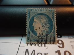 TIMBRE N° 37  CERES 20c BLEU SIEGE DE PARIS 1870 Oblitéré. Numéroté 510 - 1870 Siège De Paris