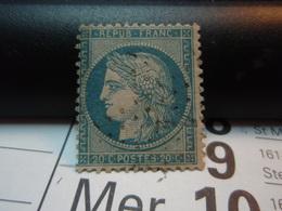 TIMBRE N° 37  CERES 20c BLEU SIEGE DE PARIS 1870 Oblitéré. Chiffre 1. - 1870 Siège De Paris